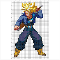 Super Saiyan Future Trunks Dragon Ball Z free cross stitch pattern