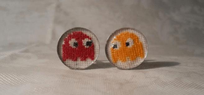 pacman cross stitch cufflinks