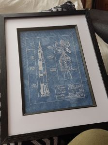 Saturn 5 cross stitch fan made 2