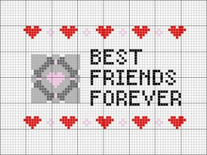best friends forever portal cross stitch pattern