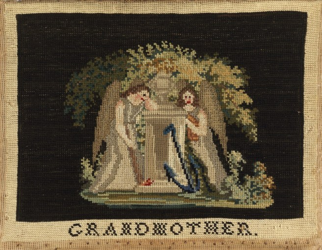 Mourning Sampler (USA), ca. 1850; wool, silk and metal-wrapped silk embroidery on cotton foundation; H x W: 11 3/4 x 15 1/2 in.; Gift of Anonymous Donor from the Fraser/Martin Collection