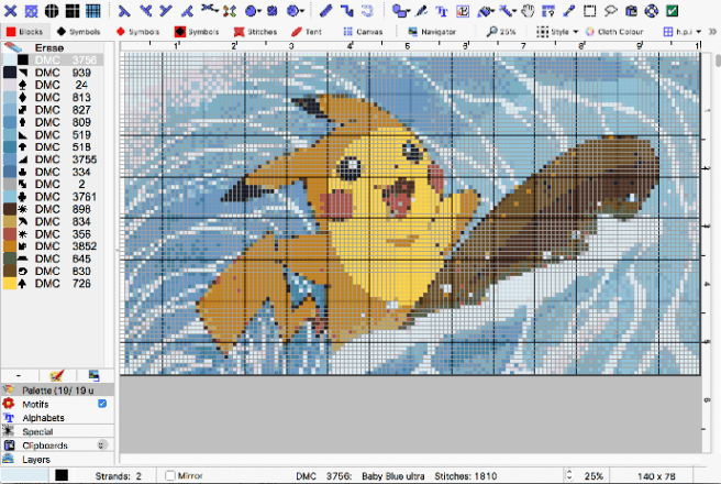 MacStitch Screenshot with example Pikachu pattern