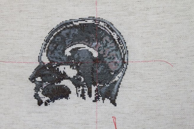 Lada Dedic – Self Portrait, Artist's Brain (2010) in Cross Stitch