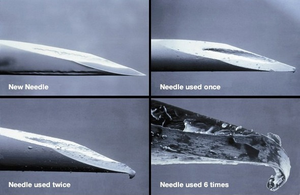 Reused needle