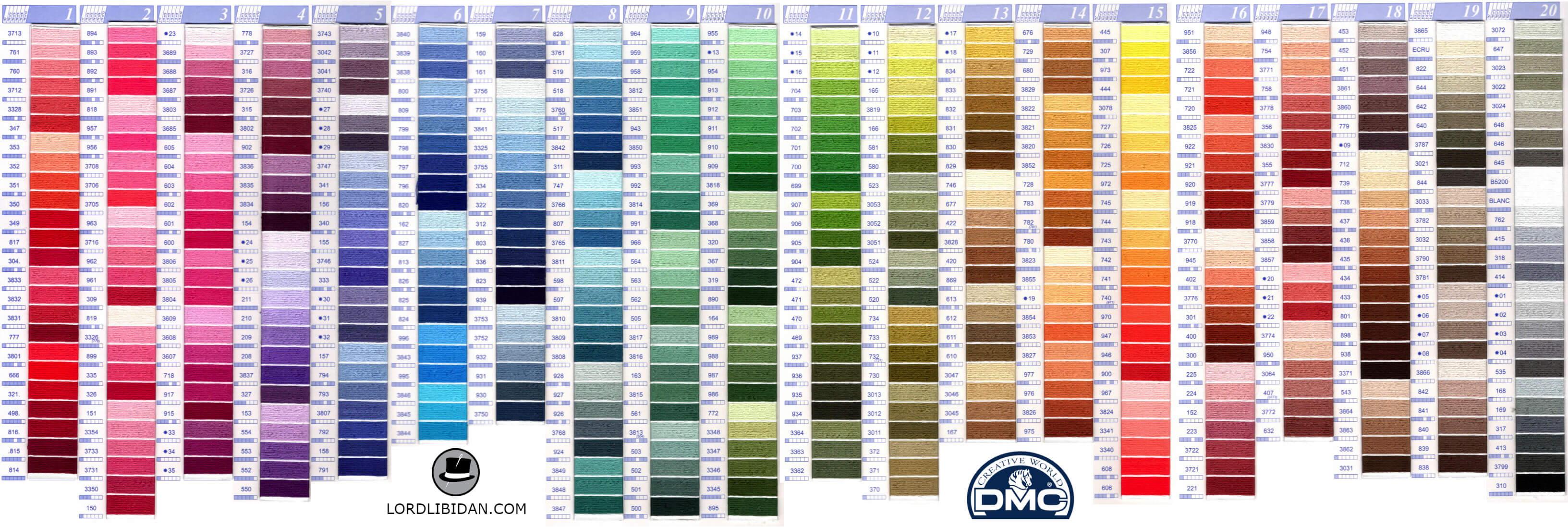 Dmc color chart updated lord libidan