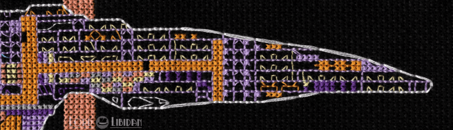 Star Trek Voyager Cross Stitch by Lord Libidan Zoomed in Section of ship