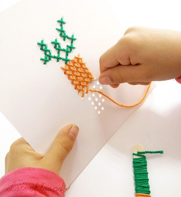 Childs cross stitch kit being completed (Source: Etsy.com)