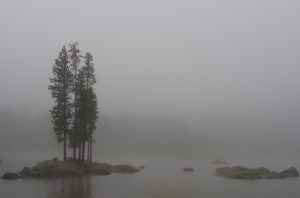 foggy scene across a still lake with rocks as little islands and tree silhouettes.