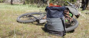 Lords Luggage Action Bag staged in front of a fat tire bicycle laying in a small meadow