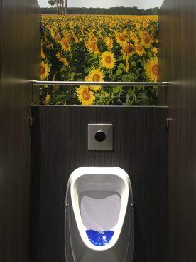 Zonnebloemen en pissoir
