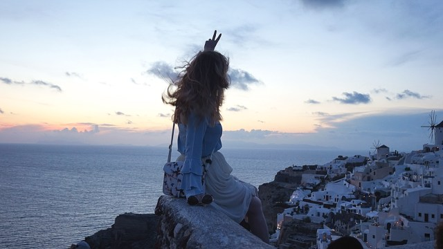 beautiful view after sunset in Oia