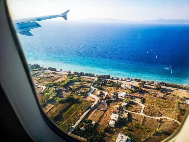 Rodos Island view from airplane