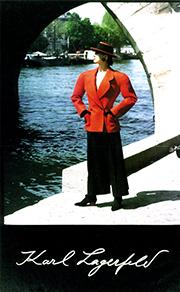 Lorelei Shellist, Los Angeles Fashion Consultant modeling Lagerfeld in the 80s