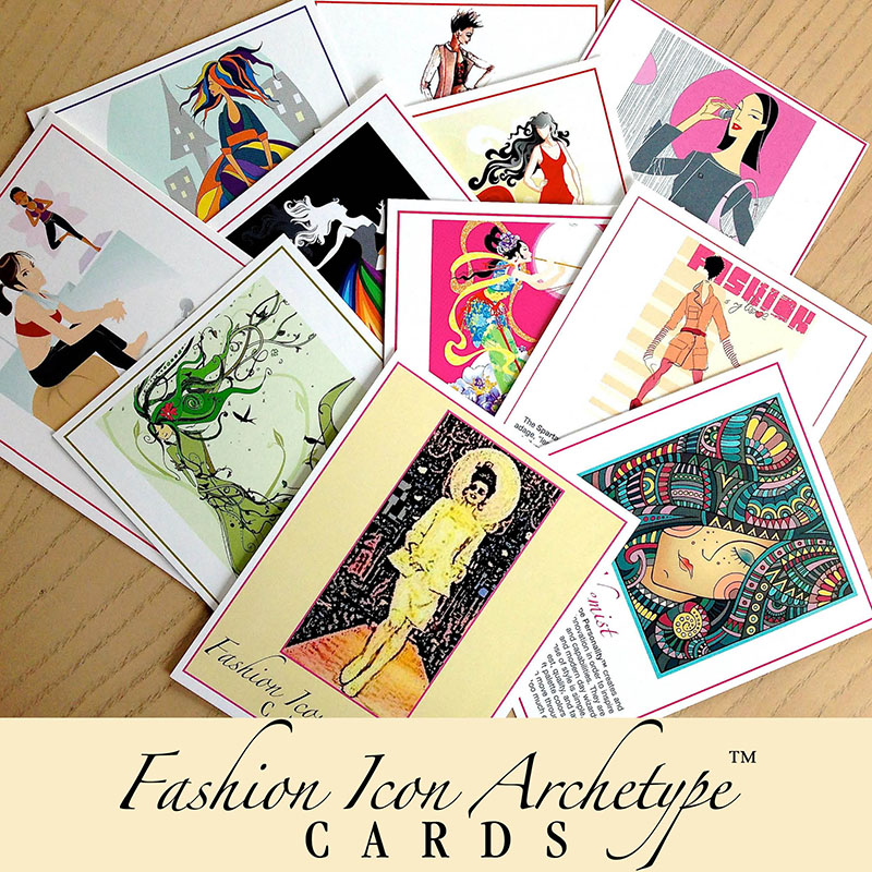 Lorelei Shellist, Keynote Speaker and Image Consultant created Fashion Icon Archetypes™ - array of personality type cards arrayed on a tabletop