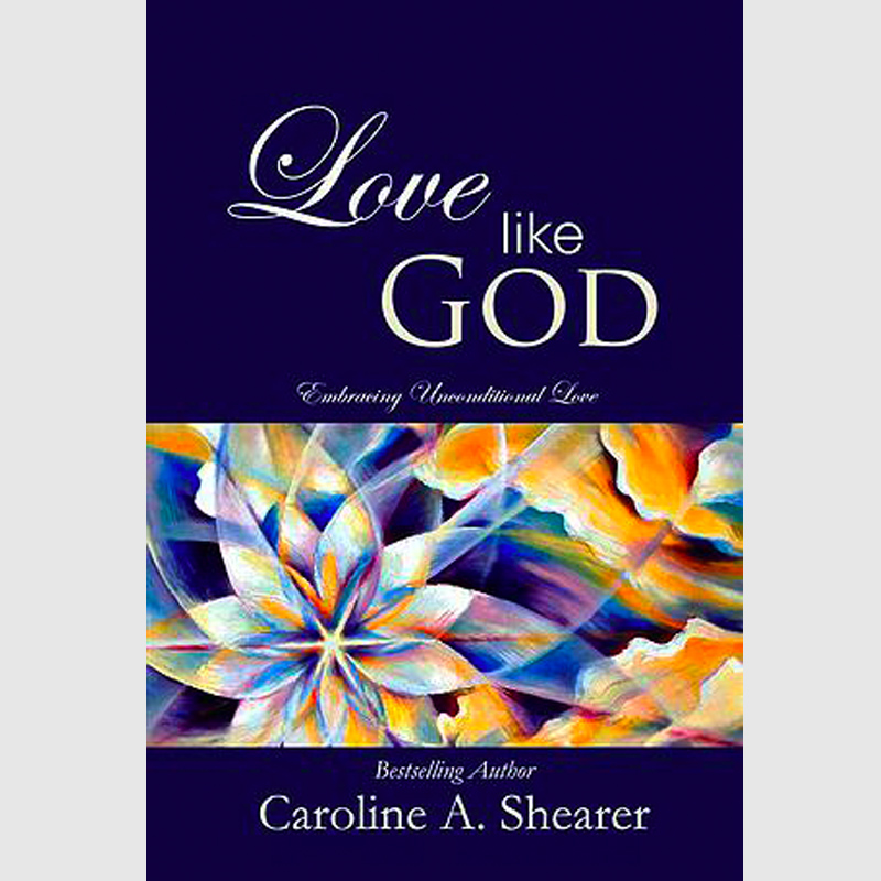 Book cover - Love Like God - contributing author Lorelei Shellist - blue, gold and white abstract sun and clouds on dark blue background