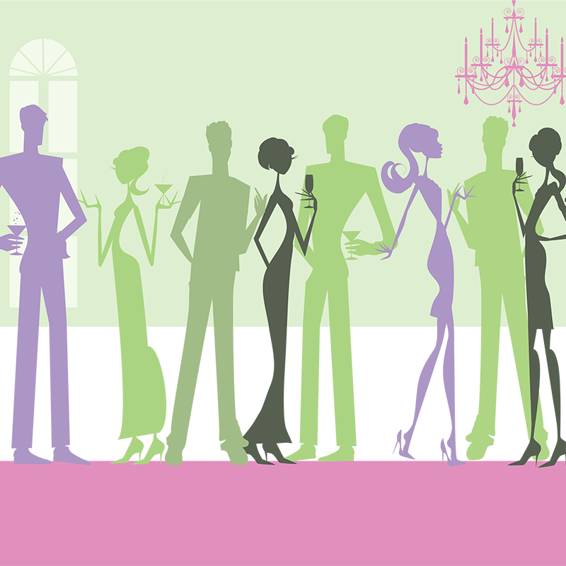 Los Angeles Fashion Consultant leads Group Consultation Sessions - graphic silhouette figures of men and women at a party