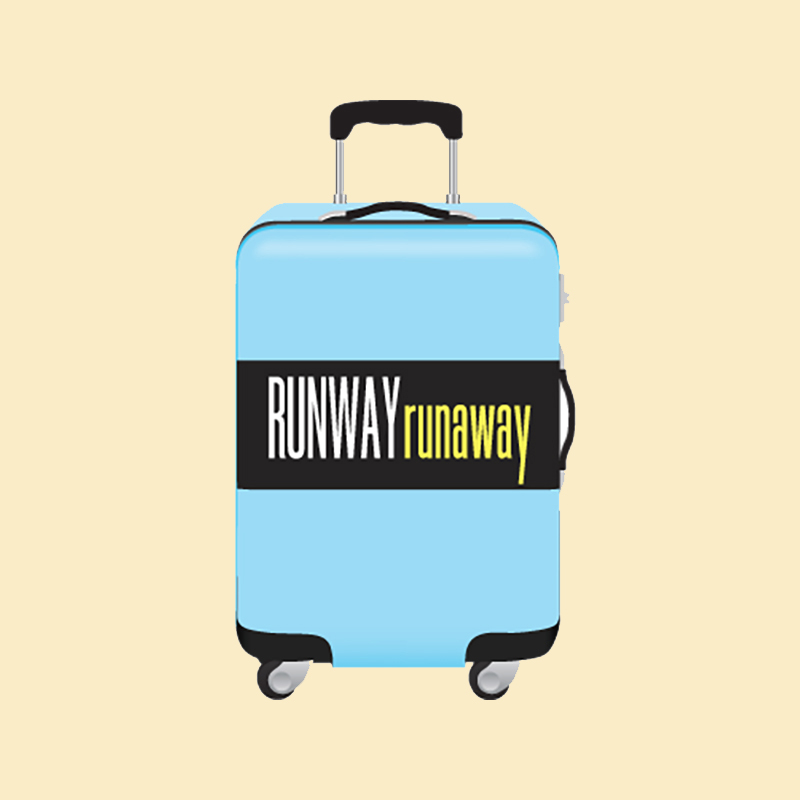 Teleseminar: Carry On Travel Packing - blue suitcase with Runway RunAway text on black band - travel packing tips by Lorelei Shellist image consultant