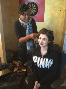Fashion Film Carla Sims doing Kaitlyn Browns hair for the Red Carpet scene.