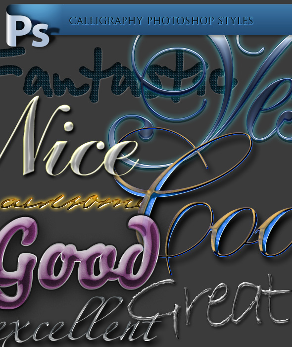 Download Fantastic Collection of Photoshop Styles - Text Effects for Calligraphy - Blog Lorelei Web Design