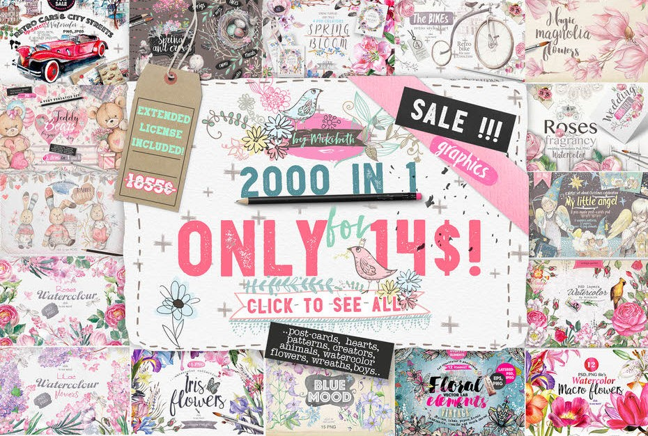 Download 2000 Graphics in 1 Bundle - Only This Week!