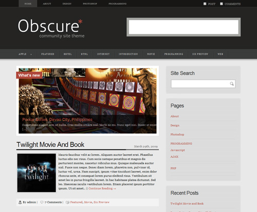 Obscure2 in 40 Free High-Quality WordPress Themes