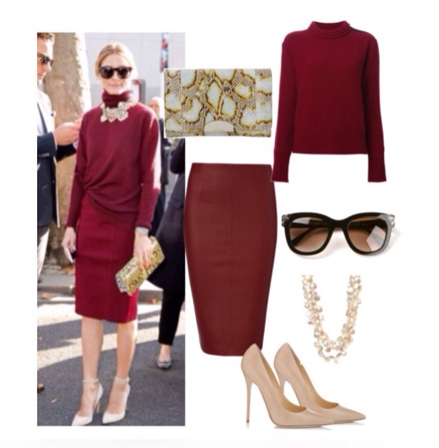 all bordeaux olivia palermo outfit