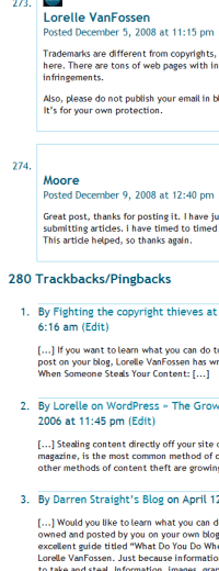 Example of trackbacks and comments separated on a WordPress blog Theme