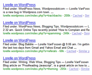 List of Lorelle on WordPress site search tag pages found by Google
