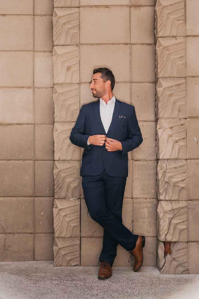 styled client in navy blazer