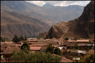Ollantaytambo main site in the background