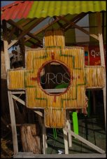 Uros Islands sign in totora, Peru