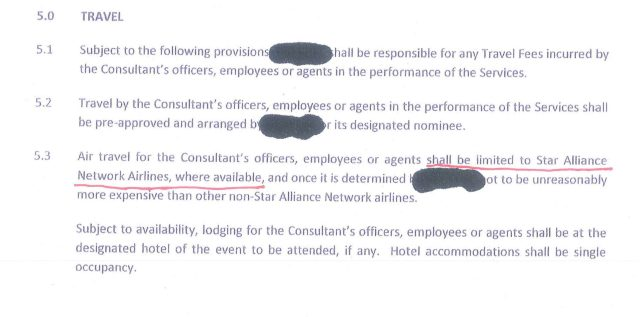 Star Alliance contract clause