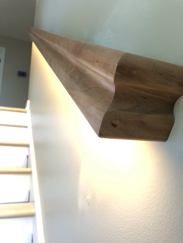 Custom Lighted Stair Railings Loren Wood Builders   Lighted Handrails For Stairs   Wrought Iron Railing   Minimal   Antique   Basement   Stair Banister