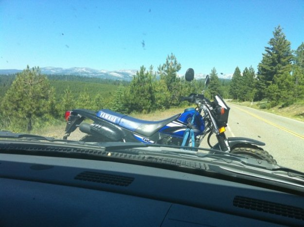 Motorcycle. Check. TAHOE. Check.