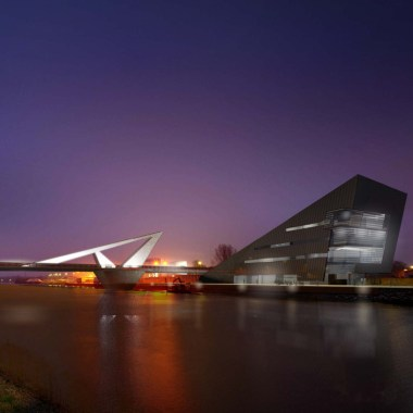 Odense Canal Bridge and Building - Night view