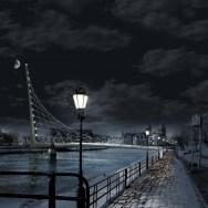 Gdansk Footbridge - Night view at night