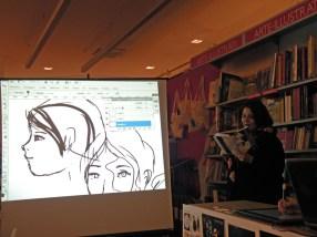 """Lettura secondo brano """"Da una lapide"""" eseguita da Laura con disegno dal vivo di Federica"""