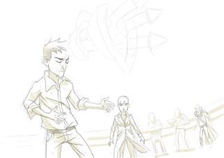 Il disegno realizzato da Fabio Cioffi durante la presentazione (incompleto perché avevamo solo mezz'ora!)
