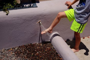 After a trip to the beach, a faucet on upstairs deck can be used to rinse feet and more.