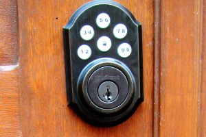 A keypad makes it easy to lock and unlock the front door without a key.