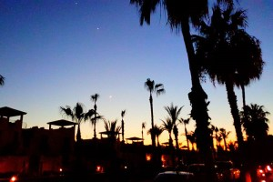 Sunset on the Paseo in Loreto Bay with the moon, Jupiter and Venus in the sky.