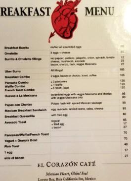 Breakfast menu as of January 2019