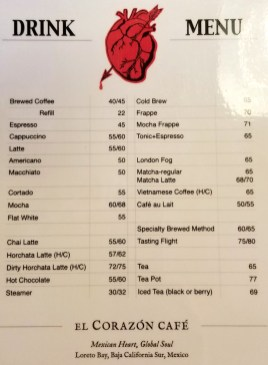 Drink menu as of January 2019