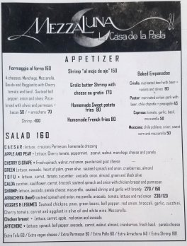 Mezzaluna Dinner Menu June 2019