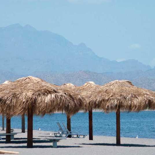 Loreto Bay beach palapas