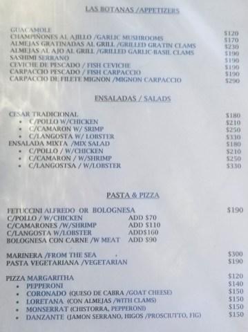 Santo Cielo Cocina Gourmet Dinner Menu 06/2019