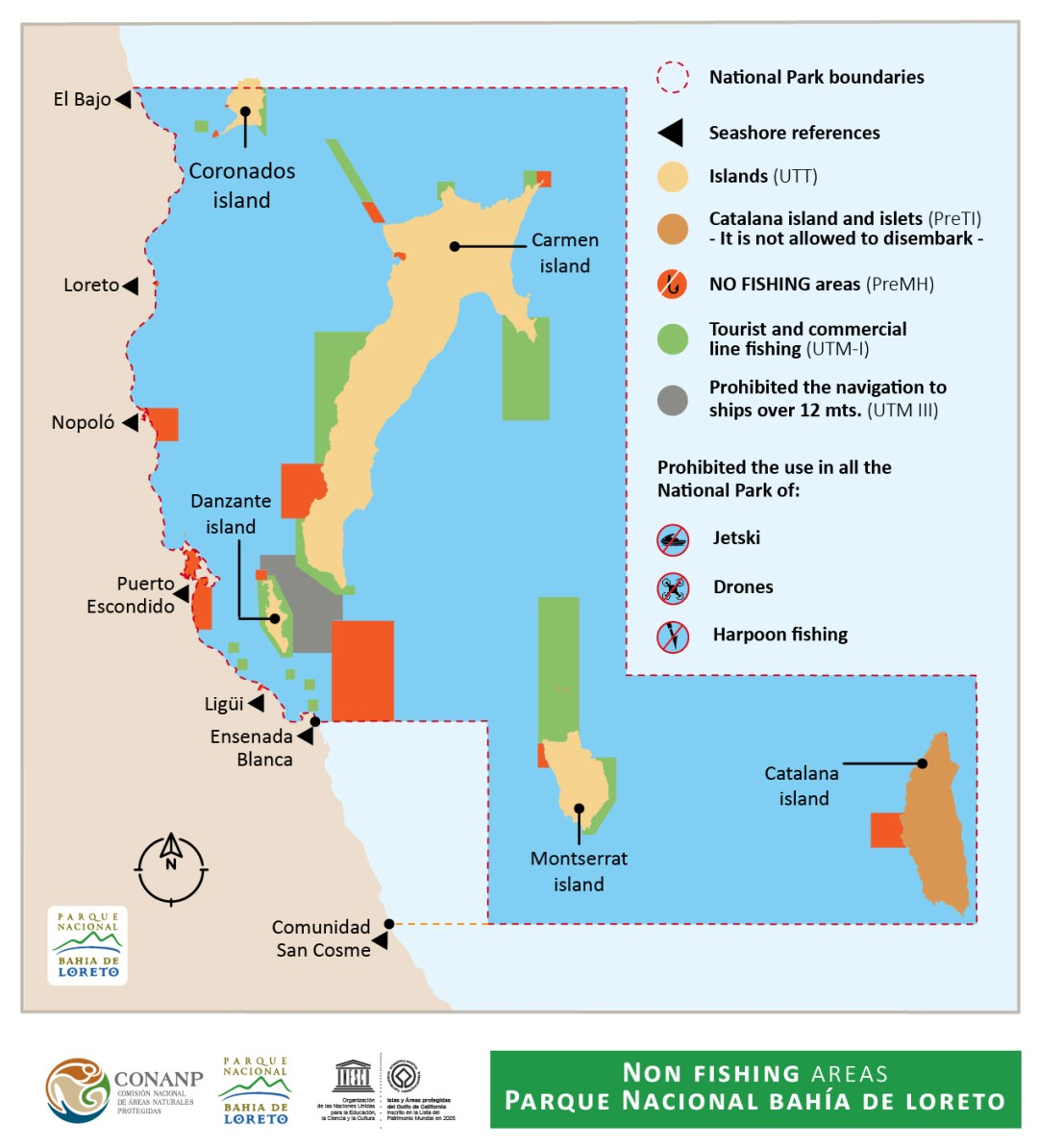Loreto National Marine Park Fishing Map