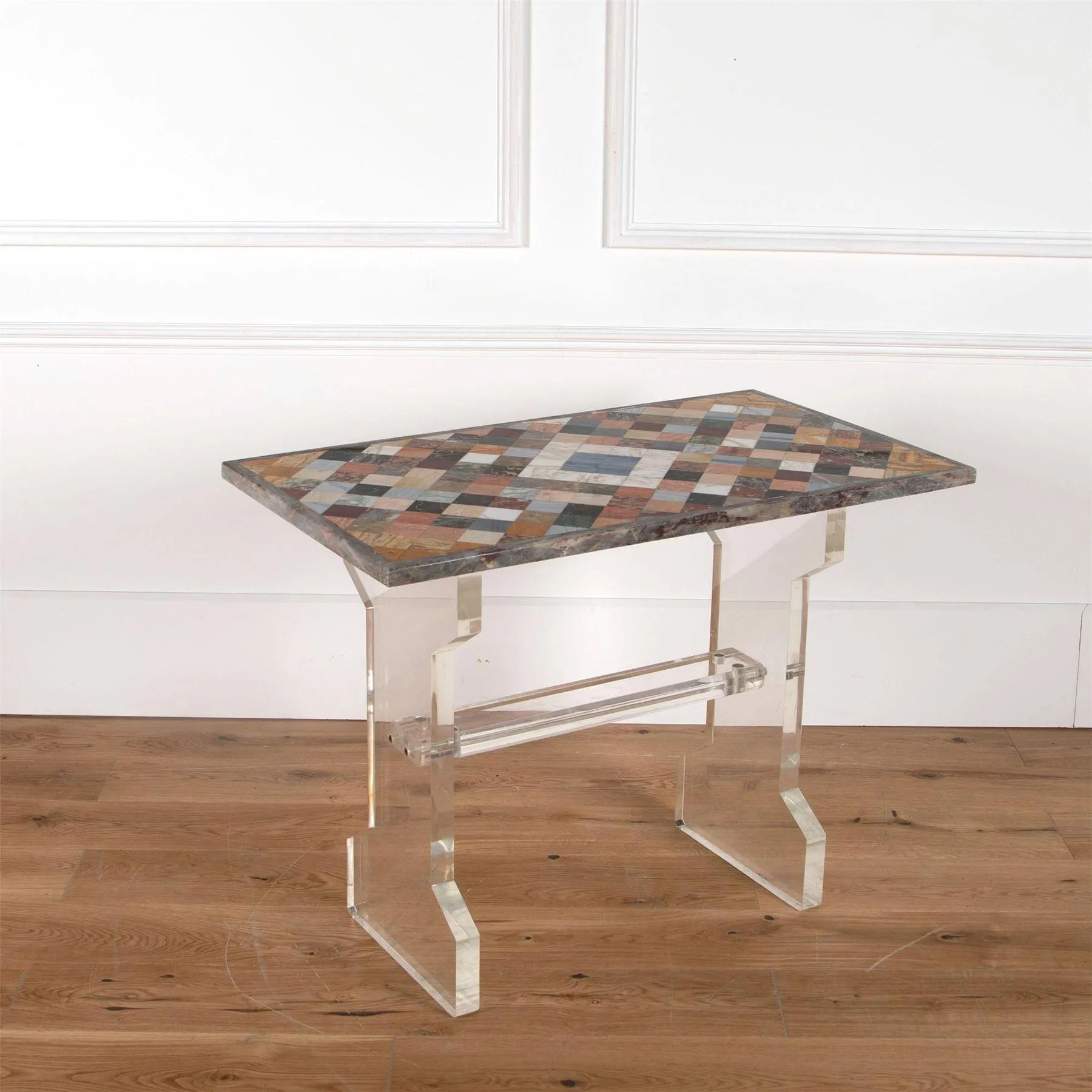 20th century italian multi marble topped side table with perspex base