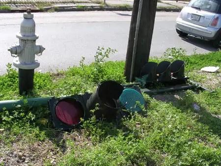 downed traffic light