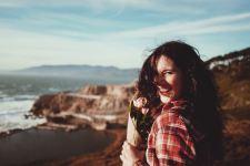 Microbiome gut-brain axis makes woman joyful and happy.